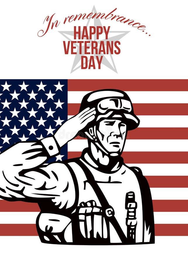 Американская поздравительная открытка дня ветеранов иллюстрация вектора