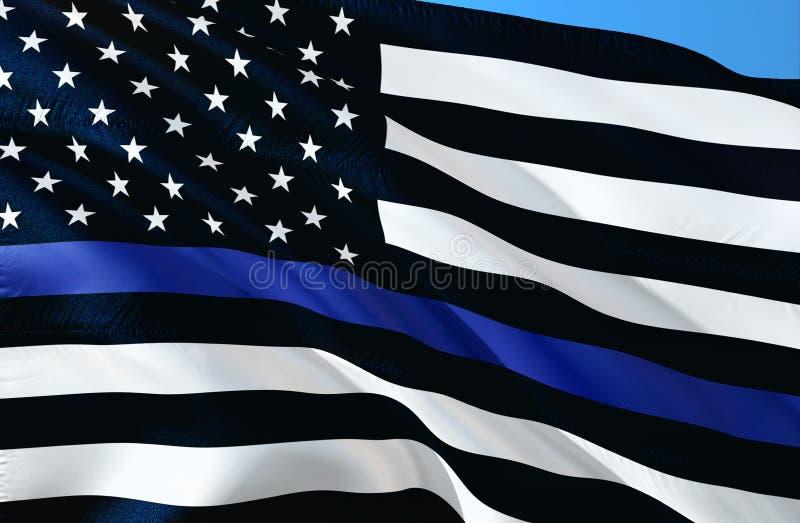 Американская полиция сигнализирует Тонкая голубая линия символ правоохранительных органов флага Американский флаг с тонкой голубо иллюстрация вектора