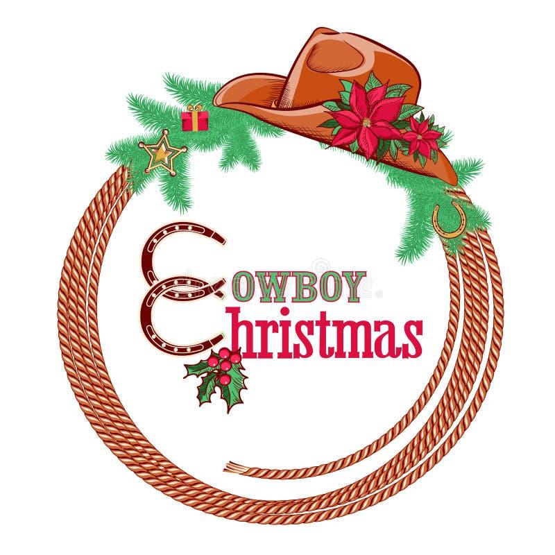 Американская предпосылка рождества ковбоя изолированная на w иллюстрация вектора