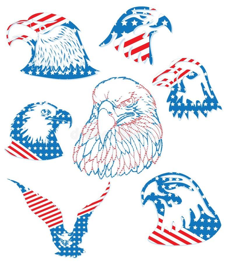 Американская свобода изолировала комплект объекта логотипа флага орла облыселый бесплатная иллюстрация