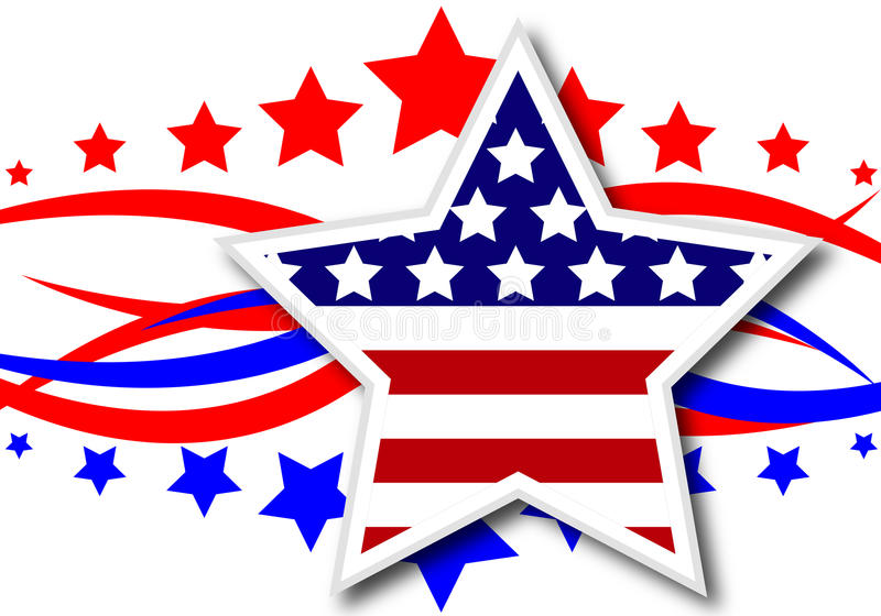 Американская тематическая звезда иллюстрация вектора