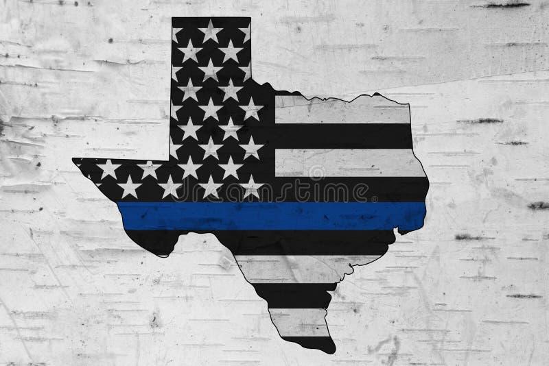Американская тонкая голубая линия флаг на карте Техаса стоковая фотография rf
