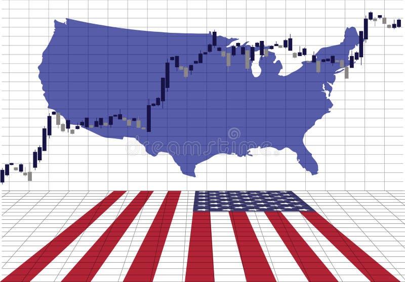 Американская фондовая биржа поднимает иллюстрация вектора