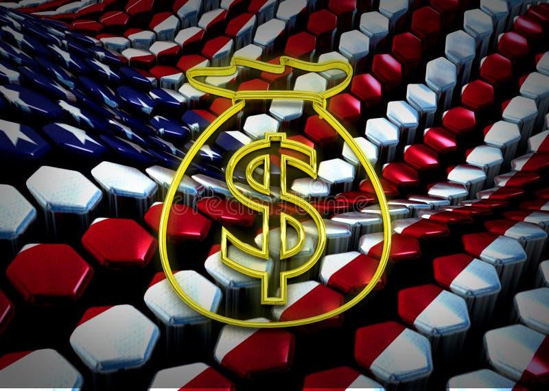 Американская dolar иллюстрация с флагом США иллюстрация вектора