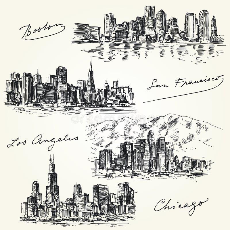 Американские горизонты городов бесплатная иллюстрация