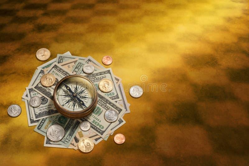 американские деньги управления компаса стоковое изображение