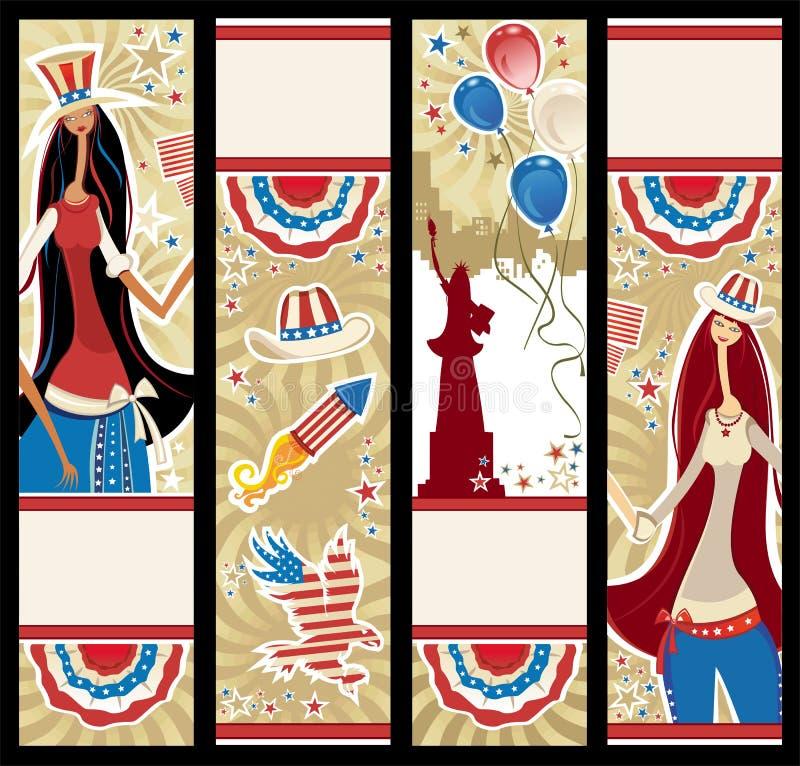 американские знамена вертикальные иллюстрация штока