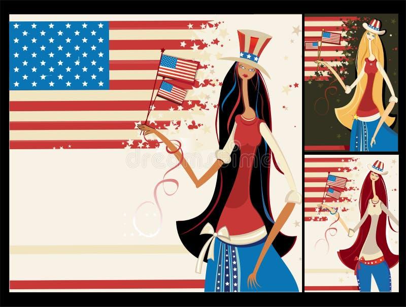 американские знамена вертикальные бесплатная иллюстрация