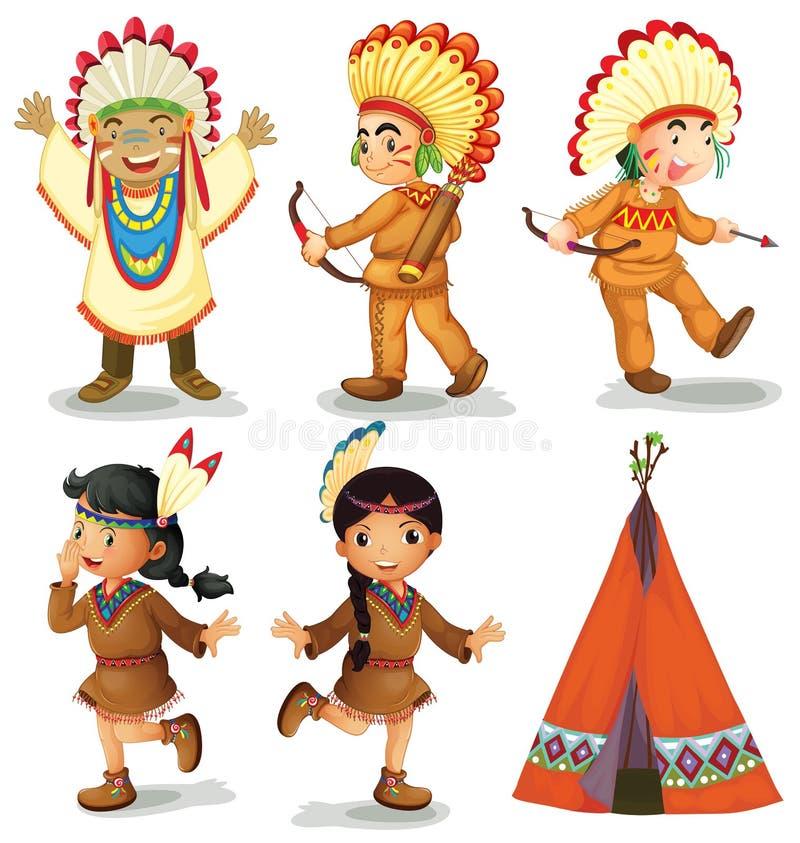 Американские индейцы иллюстрация штока