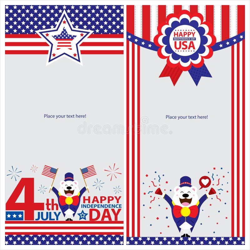 Американские комплекты карточки шаблона Дня независимости иллюстрация вектора