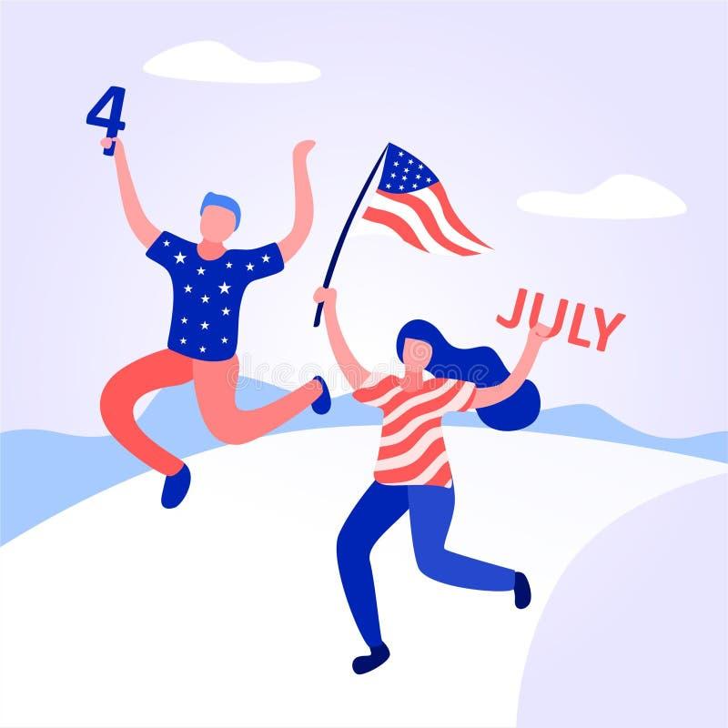 Американские люди празднуют День независимости иллюстрация штока