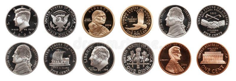 Американские монетки установили изолированный на белой предпосылке стоковые изображения