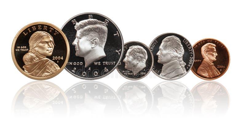 Американские монетки установили изолированный на белой предпосылке иллюстрация вектора