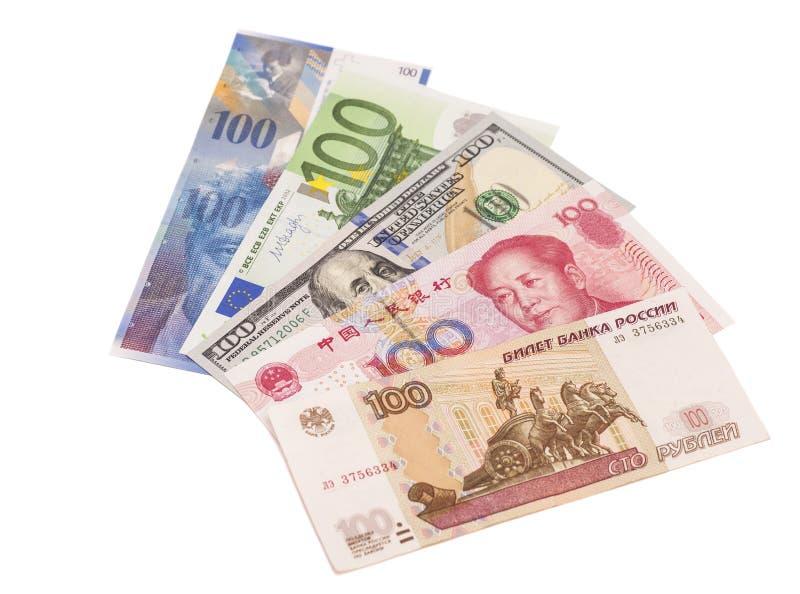 Американские доллары, европейское евро, швейцарский франк, китайские юани и Русь стоковая фотография rf