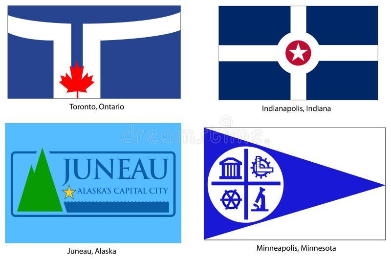 американские установленные флаги города иллюстрация штока