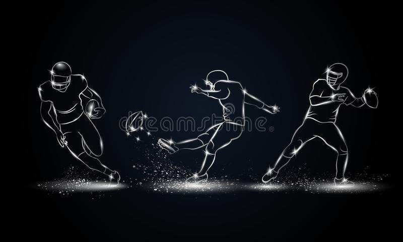 Американские установленные футболисты Металлическая линейная иллюстрация футболиста иллюстрация штока