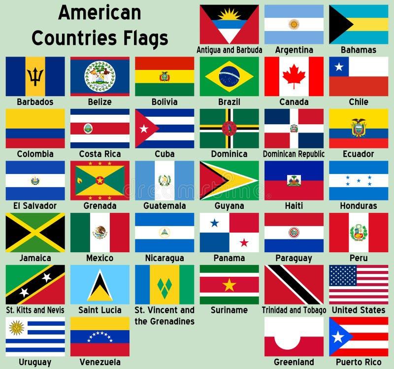 Американские флаги стран иллюстрация штока