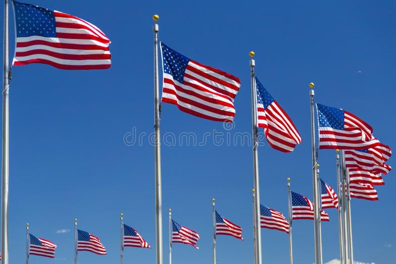 Американские флаги около памятника Вашингтона в DC Вашингтона стоковая фотография rf