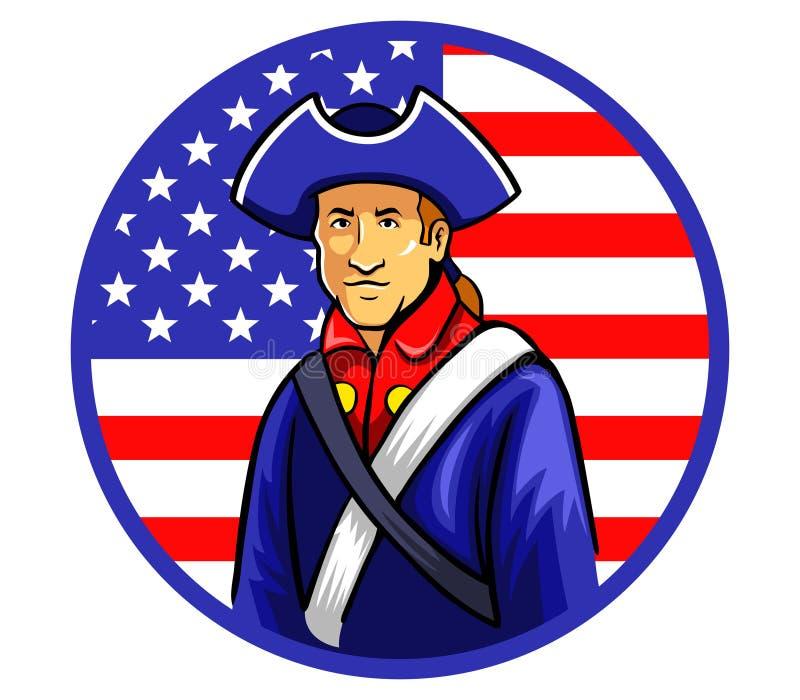 Американские Minutemen в флаге формы круга иллюстрация вектора