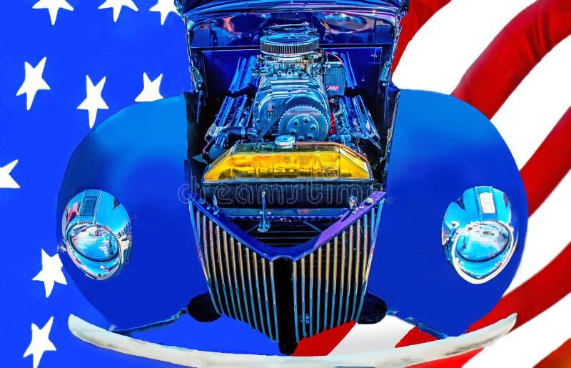 Американский автомобиль ` s классики 50 горячей штанги и и американский флаг стоковое фото rf