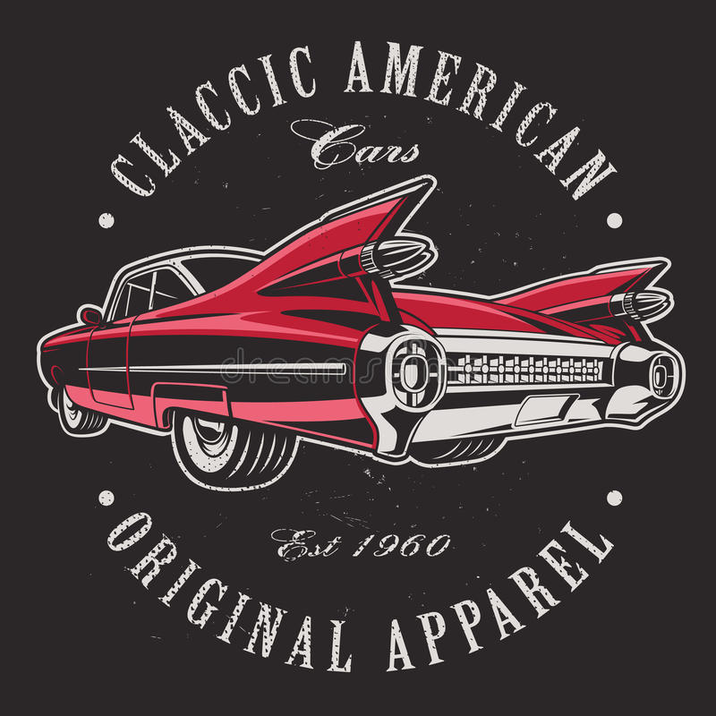 Американский автомобиль на черной предпосылке бесплатная иллюстрация