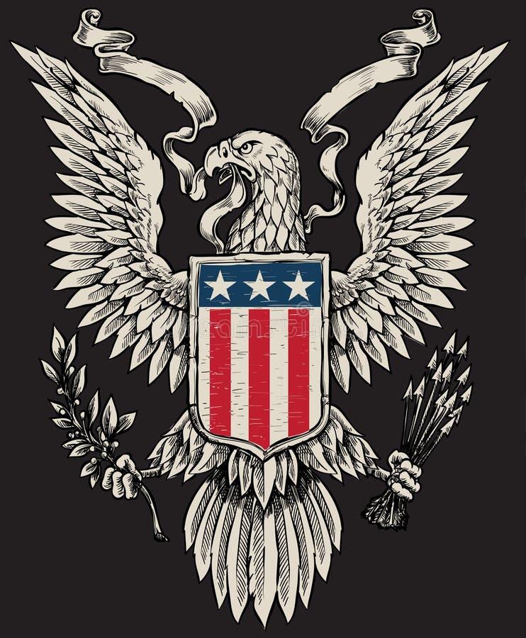 Американский вектор Linework орла иллюстрация вектора