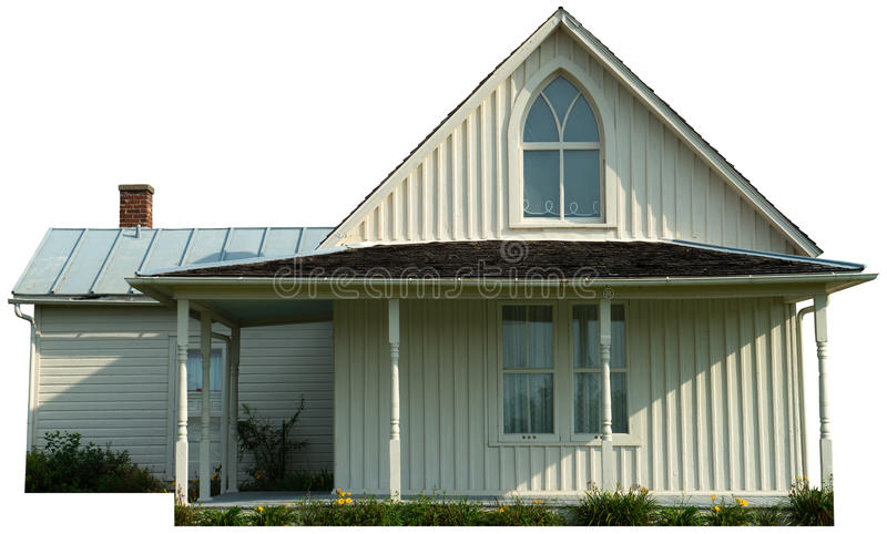 Американский готический изолированный сельский дом стоковая фотография