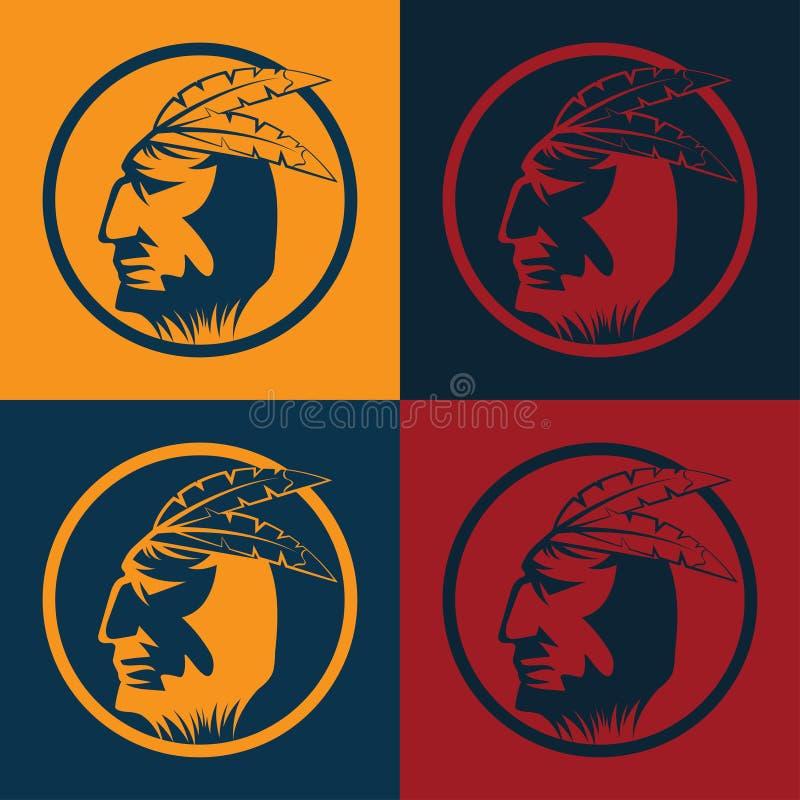 Американский главный человек в племенном головном уборе иллюстрация вектора