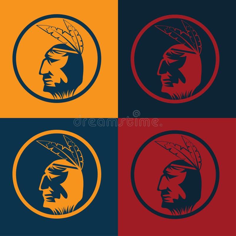 Американский главный человек в племенном головном уборе иллюстрация штока