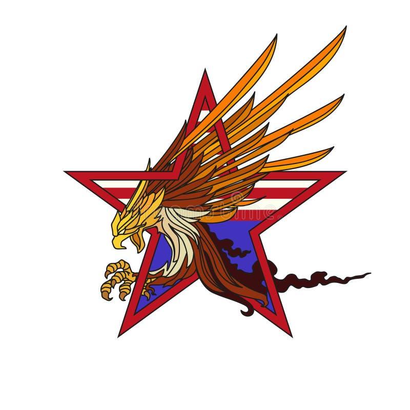 Американский дизайн концепции логотипа вектора белоголового орлана иллюстрация вектора