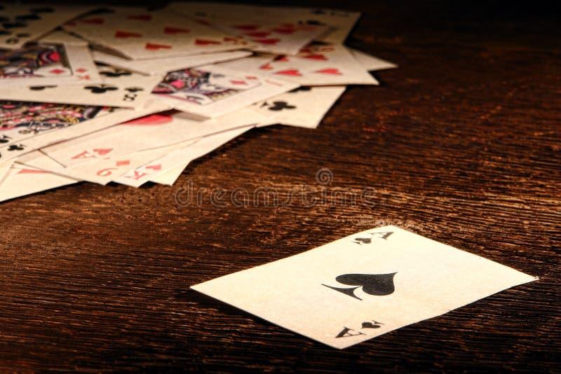 Американский западный туз карточки покера лопаты старой западной стоковое изображение rf