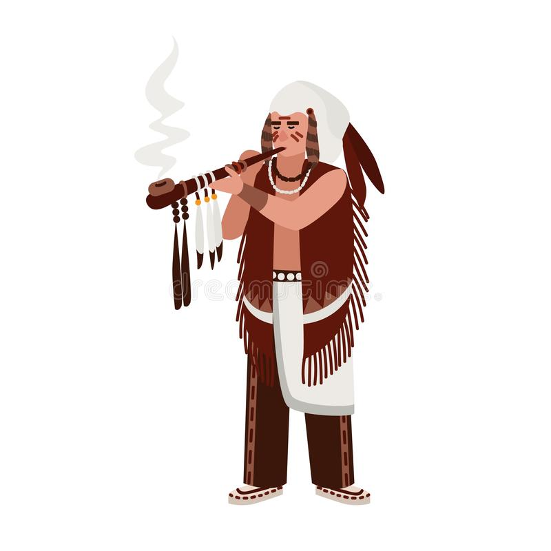 Американский индийский человек нося традиционные одежды куря церемониальную трубу украшенную пер Вождь племенных или клана иллюстрация вектора