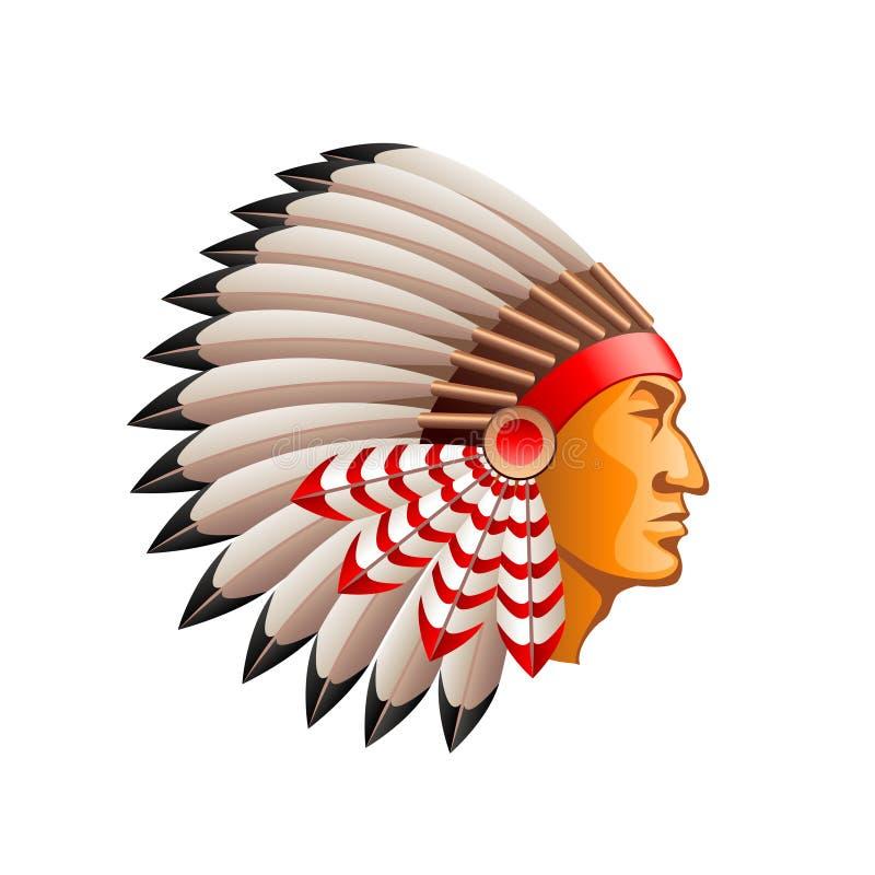 Американский индийский вождь на белом векторе иллюстрация вектора