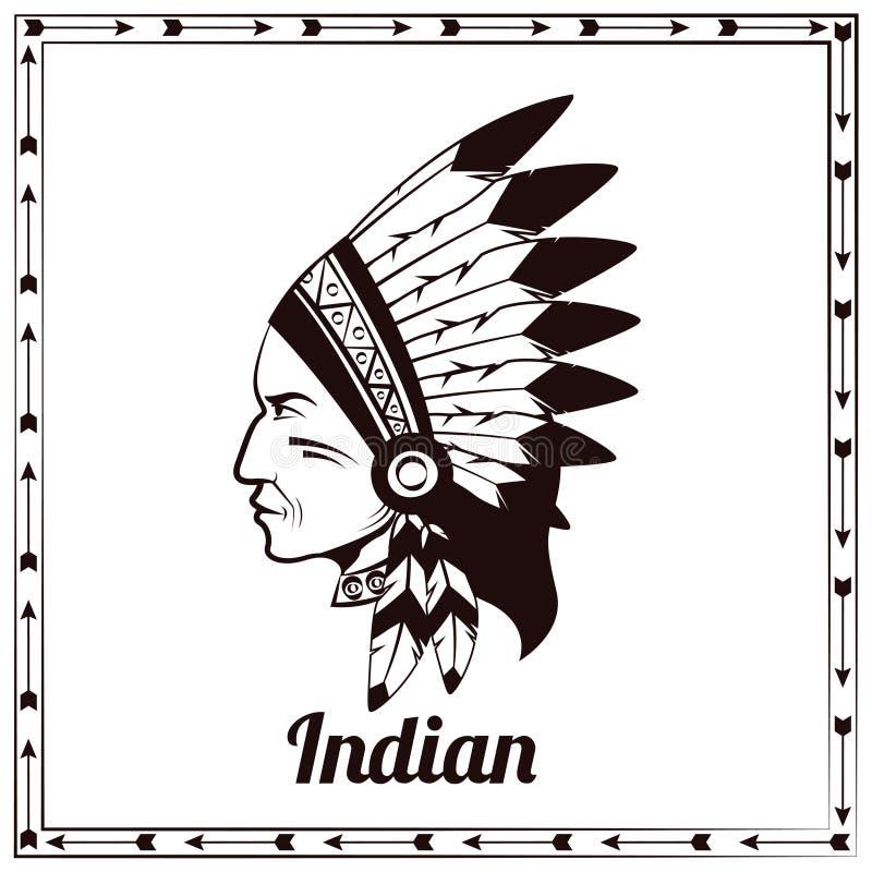 Американский индийский эскиз черноты вождя бесплатная иллюстрация