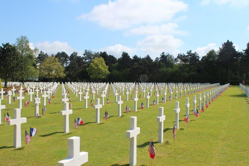 американский мемориал Нормандия кладбища стоковые фото
