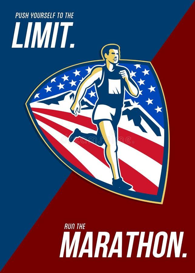 Американский нажим марафонца ограничивает ретро плакат бесплатная иллюстрация
