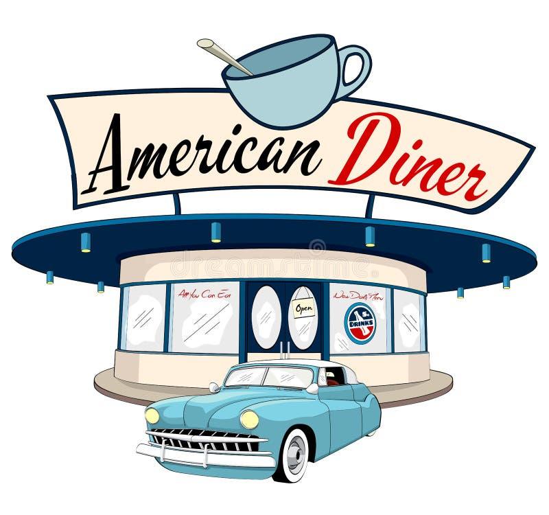 Американский обедающий и классический автомобиль иллюстрация штока
