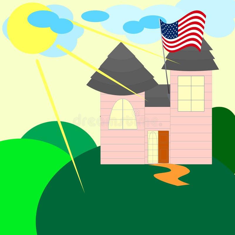 Американский дом с флагом США в летнем дне бесплатная иллюстрация