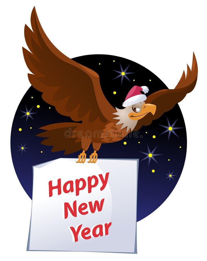 Американский орел летая в шляпе ` s Санты носит счастливую карточку Нового Года бесплатная иллюстрация
