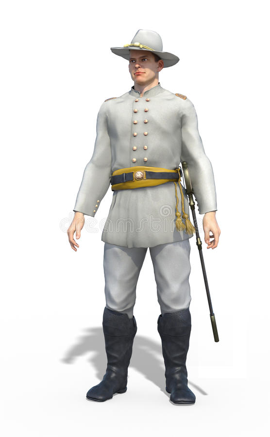 Американский офицер Confederate гражданской войны бесплатная иллюстрация