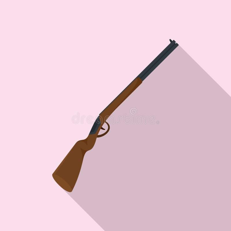 Американский охотясь значок винтовки, плоский стиль иллюстрация штока