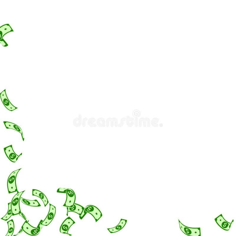 Американский падать примечаний доллара Редкие USD счетов на белой предпосылке Деньги США Первоклассное illust вектора бесплатная иллюстрация