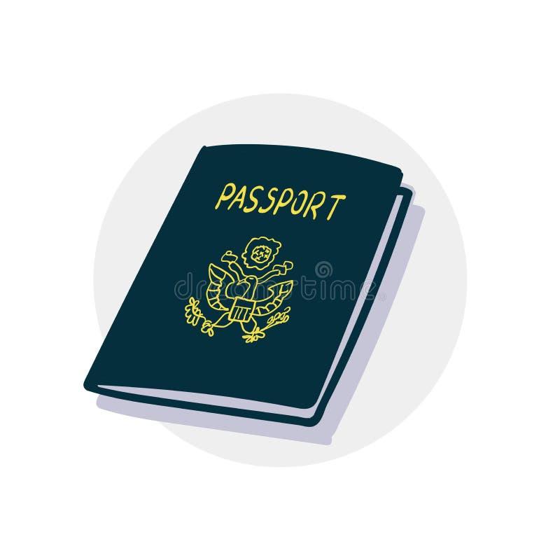 американский пасспорт иконы иллюстрация штока