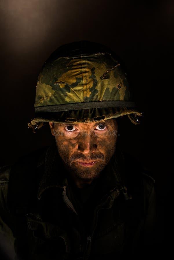 Американский портрет GI - PTSD стоковые изображения