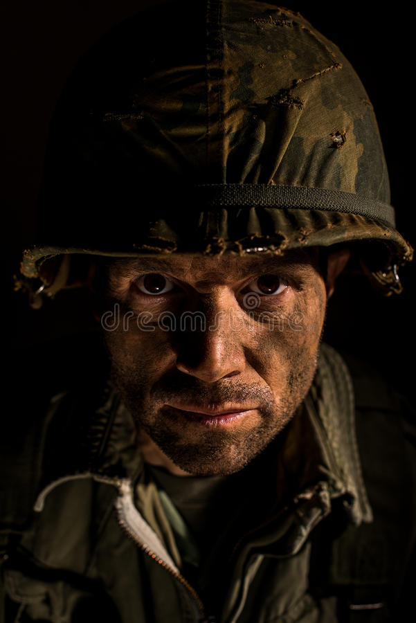 Американский портрет GI - PTSD стоковые изображения rf
