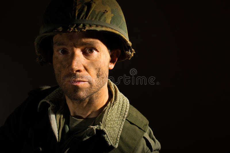 Американский портрет GI - PTSD стоковое фото rf