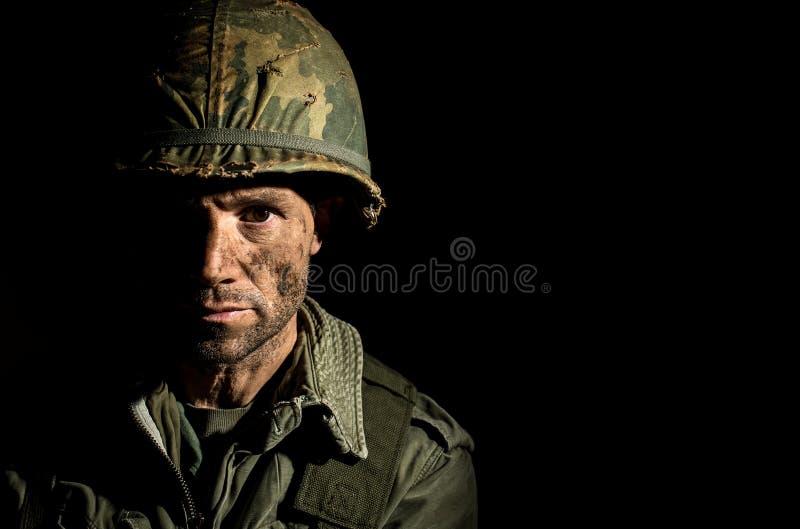 Американский портрет GI - PTSD стоковое изображение