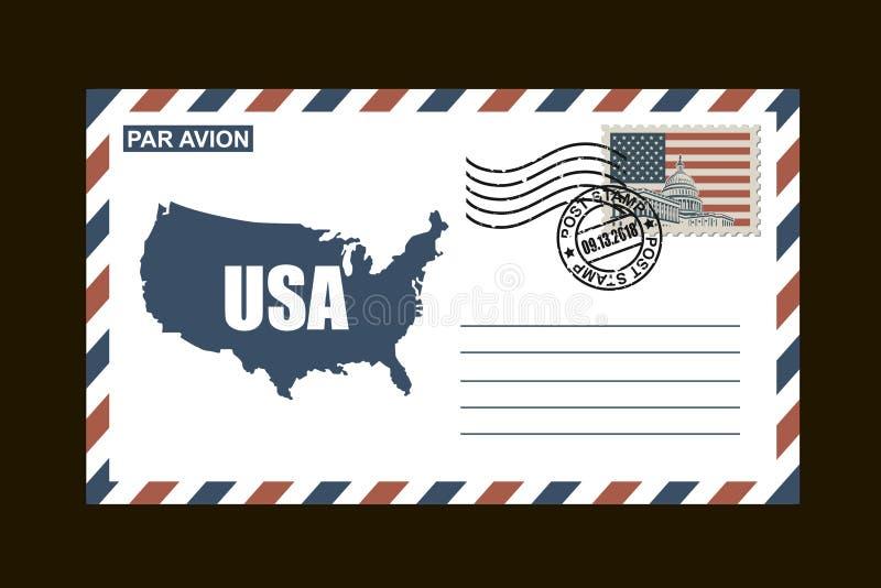 Американский почтовый конверт иллюстрация вектора