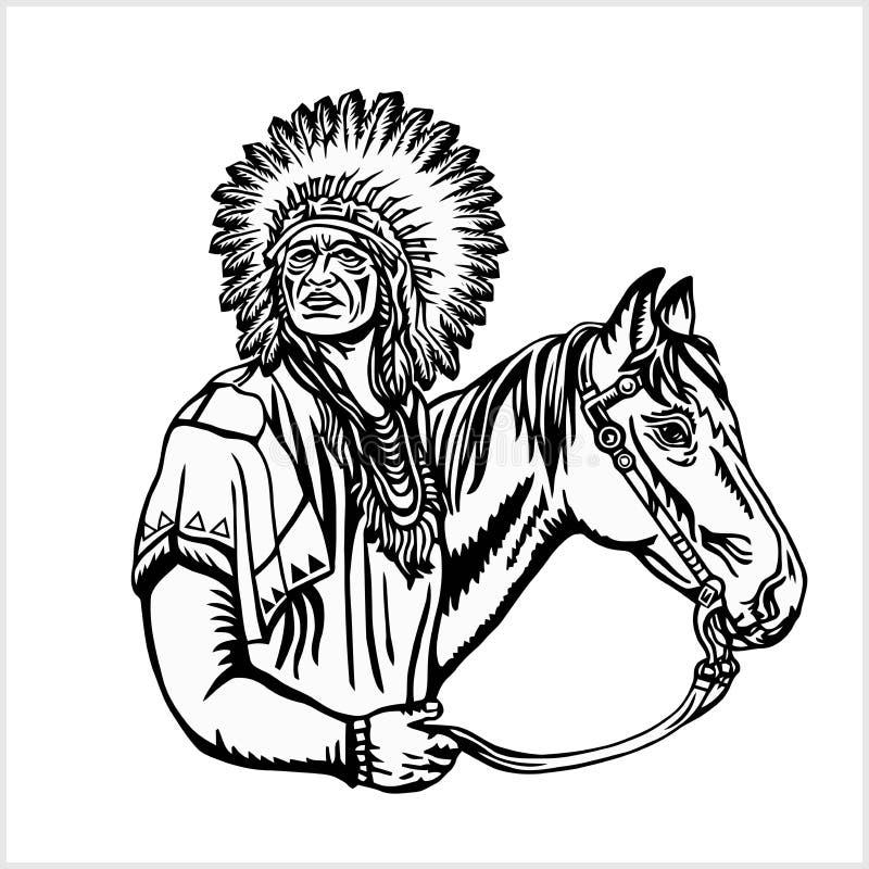 Американский родной вождь иллюстрация штока