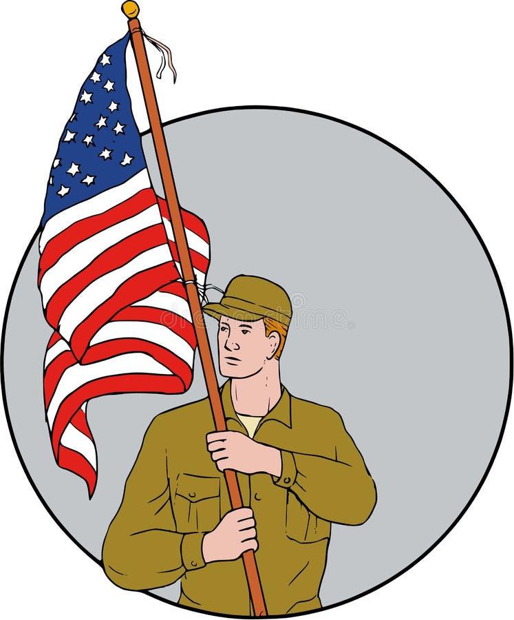 Американский солдат держа чертеж круга флага США иллюстрация штока